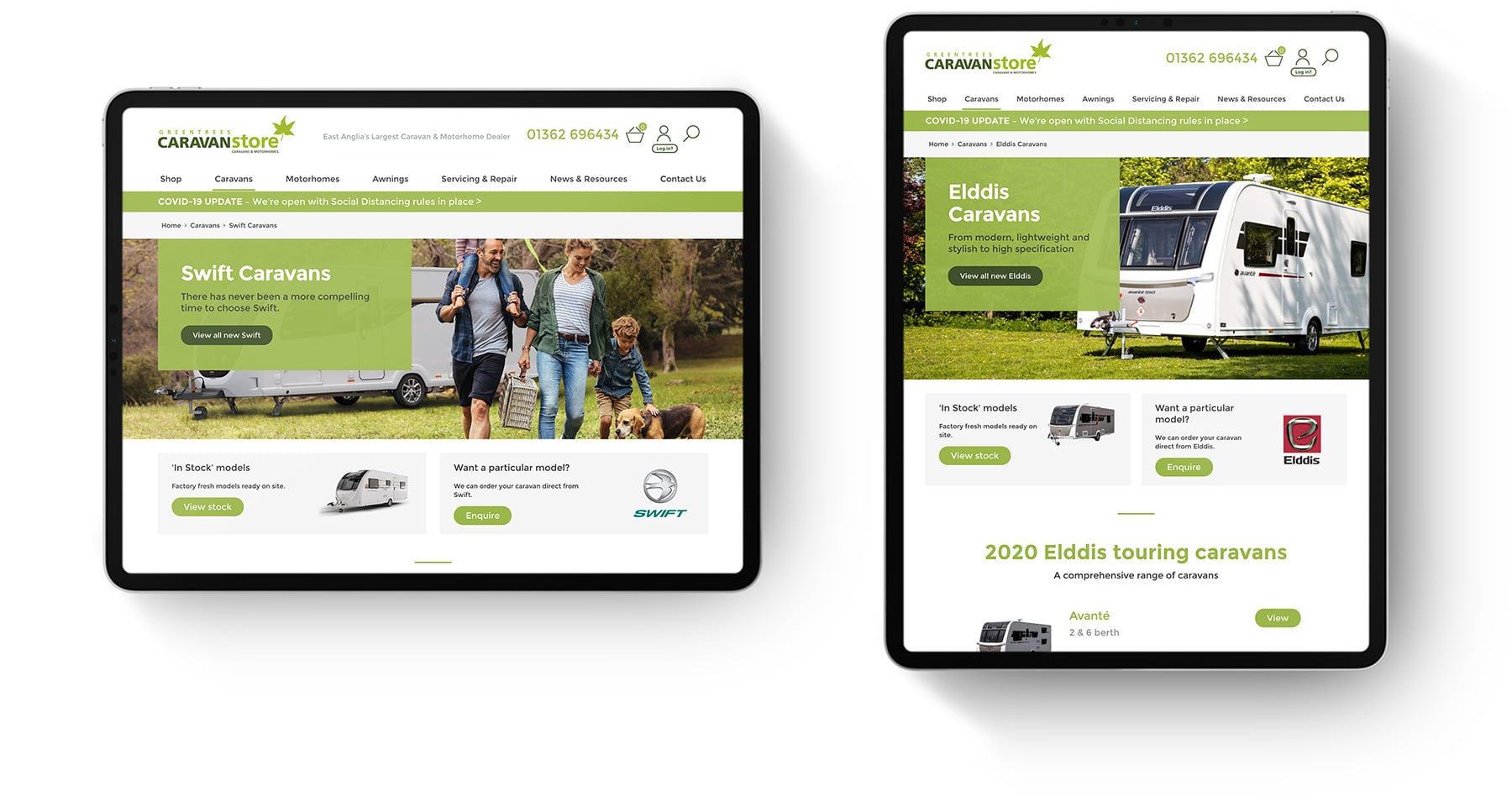 Greentrees Caravanstore web design